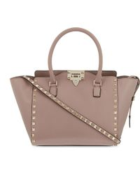 Valentino | Natural Rockstud Small Tote | Lyst