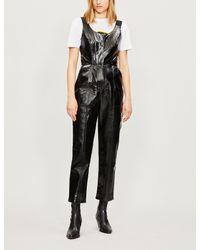 6c0b4206f81 Kitri Nikki Straight-leg Vinyl Jumpsuit in Black - Lyst