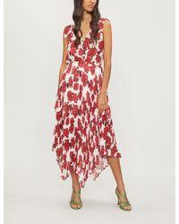 b1a215431 The Kooples Floral-print Chiffon Dress in Red - Lyst