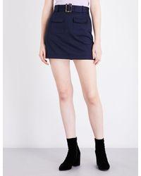 AlexaChung - Blue Patch Pocket Cotton Mini Skirt - Lyst