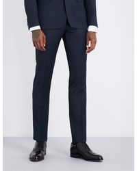 Sandro - Blue Slim-fit Wool Trousers for Men - Lyst