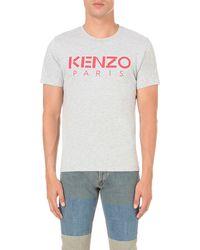 KENZO - Gray Logo-print Cotton-jersey T-shirt for Men - Lyst