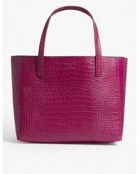 Kurt Geiger - Purple Fuchsia Pink Violet Reptile Effect Leather Horizontal Tote Bag - Lyst