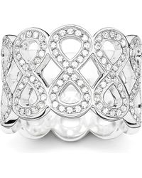 Thomas Sabo - Metallic Eternity Of Love Sterling Silver Pavé Zirconia Chunky Infinity Ring - Lyst