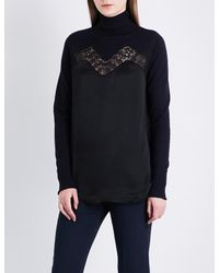 f6e232c5 Sandro Turtleneck Wool And Silk Jumper in Black - Lyst