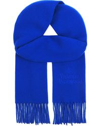 Vivienne Westwood | Blue Embroidered Wool Scarf for Men | Lyst