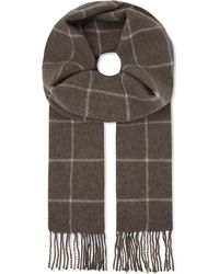 Eton of Sweden - Brown Checked Wool Scarf for Men - Lyst