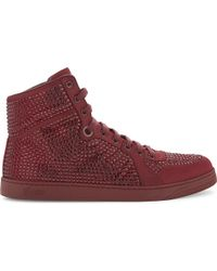Gucci | Blue Coda Bling Satin High-top Trainers | Lyst