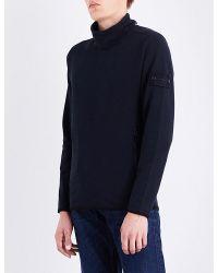 Lyst Stone Island Ghost Funnel Stretch Cotton Sweatshirt In Blue