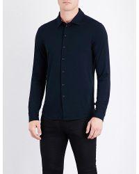 Armani - Blue Regular-fit Jersey Shirt for Men - Lyst