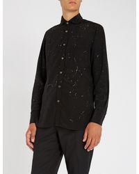 Maximilian Robinson Black The Edition Regular-fit Speckle-effect Silk Shirt for men