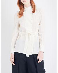 3653110df9bdb Lyst - Valentino Ladies Black Waist-tie Long-sleeved Silk Top in White