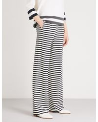 Max Mara - Blue Vito Striped Wide-leg Jersey Trousers - Lyst