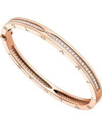 BVLGARI - Metallic B.zero1 18kt Pink-gold And Pavé Diamond Bangle Bracelet - Lyst