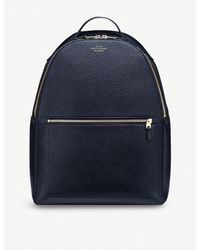 Smythson - Blue Burlington Zipped Leather Backpack - Lyst