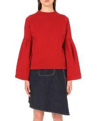 Miharayasuhiro - Red Bell-sleeve Cotton-jersey Sweatshirt - Lyst