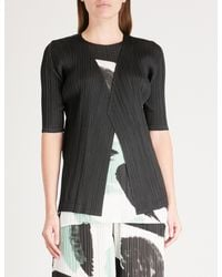 Pleats Please Issey Miyake - Black Monthly Pleated Cardigan - Lyst