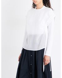 Izzue - White Ruched-sleeve Gauze Top - Lyst