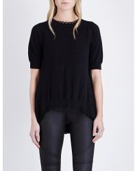 b31c433f1defaa French Connection Celia Scalloped Knitted Jumper in Black - Lyst