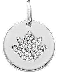 Thomas Sabo - Metallic Love Coin Sterling Silver Engravable Lotus Pendant - Lyst