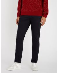 3f0f129209 Emporio Armani Slim-fit Tapered Stretch-cotton Trousers in Blue for ...