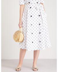 Lisa Marie Fernandez - White Diana Polka Dot-embroidered Linen Skirt - Lyst
