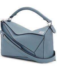 Loewe - Blue Puzzle Leather Shoulder Bag - Lyst