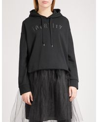 Izzue - Black Embroidered Cotton-jersey Hoody - Lyst