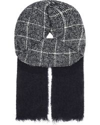 Slowear - Blue Check Pattern Wool-cashmere Blend Scarf for Men - Lyst