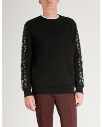 Paul Smith - Black Floral-embroidered Cotton-jersey Sweatshirt for Men - Lyst