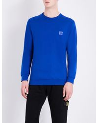Stone Island - Black Logo-patch Cotton-jersey Sweatshirt for Men - Lyst