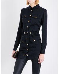 Balmain - Black Button-detailed Satin Shirt - Lyst