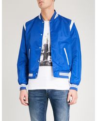 The Kooples - Blue Leather-trimmed Shell Bomber Jacket for Men - Lyst