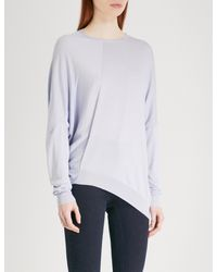 Stella McCartney - Blue Asymmetric Cotton And Wool-blend Jumper - Lyst