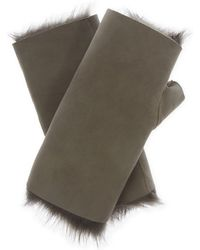 Karl Donoghue - Gray Ladies Grey Contrast Luxurious Leather Fingerless Gloves - Lyst