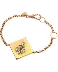 Annina Vogel | Metallic 9ct Rose-gold Rose-cut Diamond Anchor Guard Bracelet | Lyst