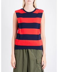 Izzue - Red Striped Cutout-detail Cotton-jersey Top - Lyst