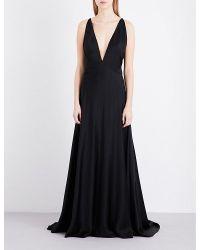 Michael Lo Sordo | Black V-neck Silk Maxi Dress | Lyst