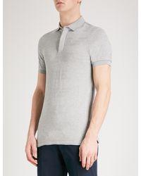Emporio Armani - Gray Intarsia Knitted Polo Shirt for Men - Lyst