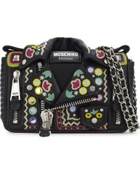 Moschino | Black Hippy Embroidery Leather Biker Jacket Cross-body Bag | Lyst
