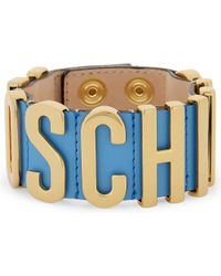 Moschino | Blue Logo Leather Wrap Bracelet | Lyst