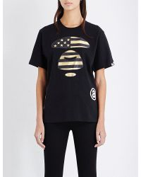 Aape | Black Metallic Logo-print Cotton-jersey T-shirt | Lyst