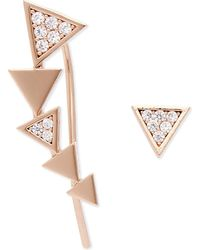 Astrid & Miyu | Metallic Black Magic Rose Gold Ear Crawler & Stud | Lyst