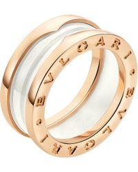 BVLGARI - Metallic Bzero1 Two-band 18ct Pink-gold and Ceramic Ring - Lyst