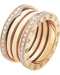 BVLGARI   B.zero1 Four-band 18kt Pink-gold And Diamond Ring   Lyst