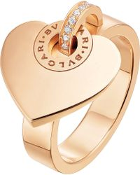 BVLGARI - - Cuore 18kt Pink-gold And Pave Diamond Ring - Lyst