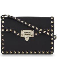 Valentino | Black Rockstud Mini Leather Satchel | Lyst