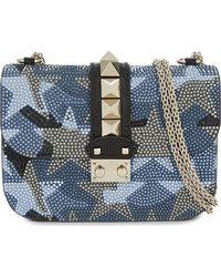Valentino   Blue Lock Small Leather Swarovski Shoulder Bag   Lyst
