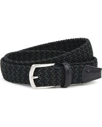Andersons - Black Woven Elastic And Leather Belt for Men - Lyst
