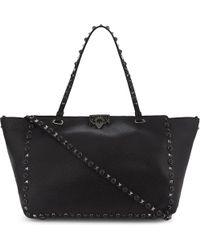 Valentino | Black Noir Rockstud Medium Grained Leather Tote | Lyst